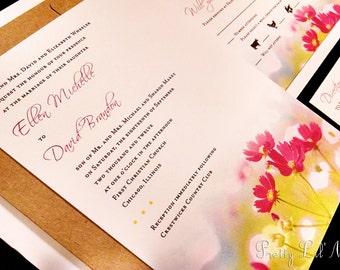 Watercolor Flower Daisy Sunflower Custom Unique Wedding Invitation Painting Spring Summer Fall Lined Kraft Liner - Watercolor Wonder Design