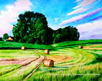 Classic Landscape Watercolor Painting, Hay rolls on the farm by Award Winning Artist Christopher Shellhammer.