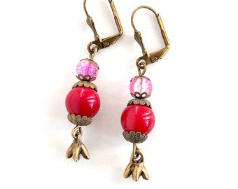 Earrings red and pink, dangling, retro style