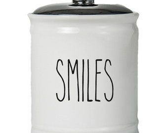 Smiles Word Jar With Lid - Money Coin Jar - Money Bank - Money Jar - Money Jar With Lid