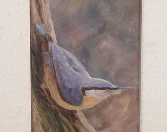 Original bird painting. Oil on canvas. Nuthatch by Neil Hampson