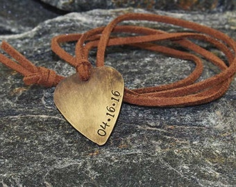 custom guitar pick necklace hand stamped with date vintage pick christmas gift personalized