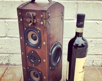 Vintage Liquor Travel Case Battery Powered Bluetooth Boombox MP3 Player Stereo Ammo Can Wine