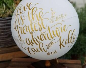Wedding Globe, Wedding gift, Wedding Guest book, Globe, World Globe, Wedding sign in Globe,  Painted Globe, White and Gold Globe