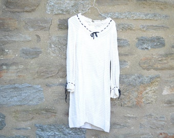 ON SALE!!!   Vintage Dress From 1965 White Cotton Open Weave Fabric From Lord & Taylor