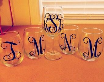 Single Letter for Wine Glass
