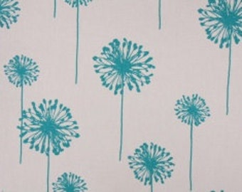 Handmade Table Runner in Turquoise  Dandelion in Turquoise on White 100% Cotton Fabric