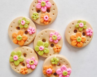 Button Tiny Citrus Flowers handmade polymer clay  3/4 inch buttons  ( 6 )