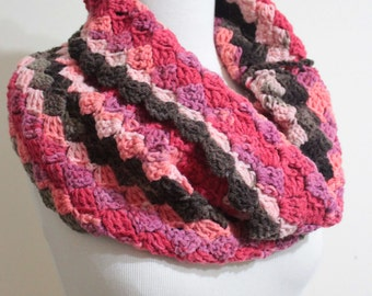 Colorful Infinity Cowl Fingerless Gloves Mittens Handmade Cowl Crochet Cowl Scarf Winter Accessories