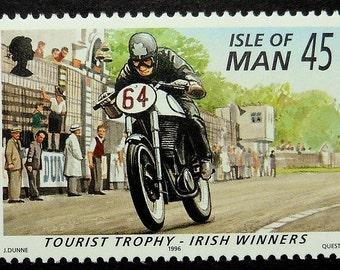 Motorcycles & Motorbikes Racing Tourist Trophy Irish Winners -Handmade Framed Postage Stamp Art 16925