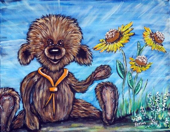 Teddy Bear Art Original Acrylic Painting On Stretched Canvas Handpainted Nursery Wall