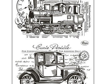 Transport / Vehicle large rubber stamps - 2 pack - Viva decor
