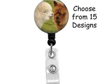 Llama Badge Reel, ID Badge Holder, Medical Badge Reel, Animal, Belt or Alligator clip