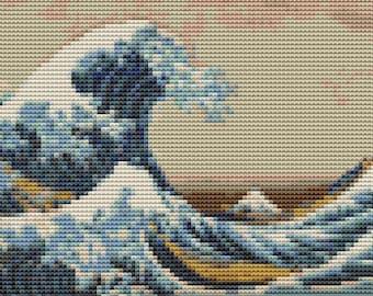 Asian Cross Stitch Chart, Great Wave off Kanagawa MINI Cross Stitch Pattern PDF, Katsushika Hokusai, Embroidery Chart