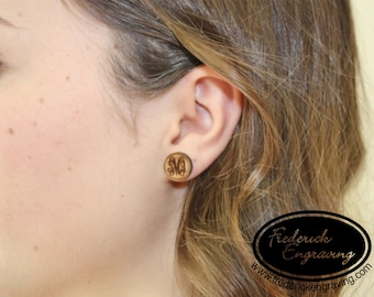 Custom Monogram Earrings - Wooden Studs with Surgical Steel Posts - Personalized - Handmade