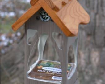 Bird feeder,hanging birdfeeder,suet holder,unique modern tray feeder,fully functional,handmade,USA made - ez clean - ez fill - open viewing