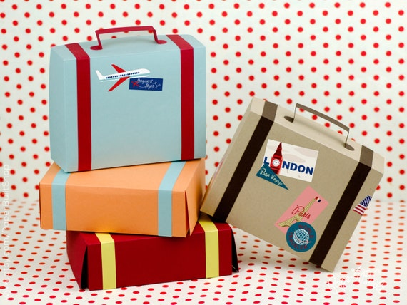 Suitcase Favor Box Kit Set Of 4 Favor Box Airplane Party