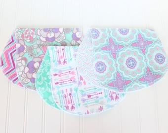 Baby Girl Burp Cloths - Set of 3 - Baby Gift - Baby Shower Gift - Aztec - Arrow