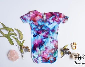 Super Soft Bamboo Baby Bodysuit / Romper / Onesie, Ice Tie Dye, Size 3-6 months