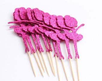 10 PC Ballet Dark Pink Glitter Shiny Cupcake Toppers Dessert Party Supplies Theme Decorations DB040118