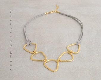 Bib necklace, Gold modern necklace, Geometric necklace, Abstract necklace, Triangles necklace, Urban necklace, Statement necklace