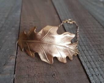 Gold Oak Leaf Bracelet.