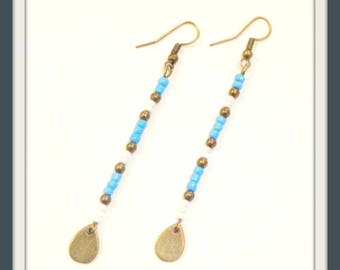 Bohemian earrings dangle long beads seed beads blue sky white 8 cm