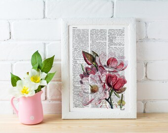 Vintage Book Print Dictionary or Encyclopedia Book print Magnolia Flower on Vintage Encyclopedic Bookart art BFL040