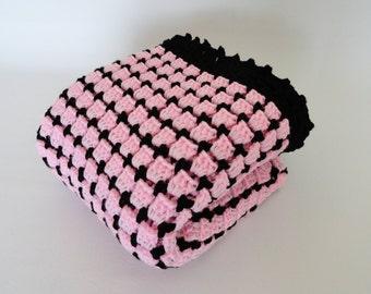 Baby Blanket Crochet Afghan, Pink, Black, Crib Bedding Blanket, Baby Shower Gift, Granny Square Baby Afghan, Lap Afghan, Baby Doll Blanket