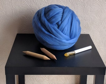 100g dyed Merino wool for Arm knitting – Super bulky yarn – Chunky merino wool – Worsted weight yarn - Extreme knitting yarn - Giant yarn