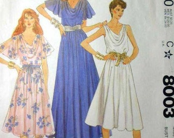 McCALL'S Pattern 8003 Misses dress and slip Size 18 Bust 40 Uncut (1982)
