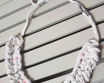 Chunky white crochet necklace