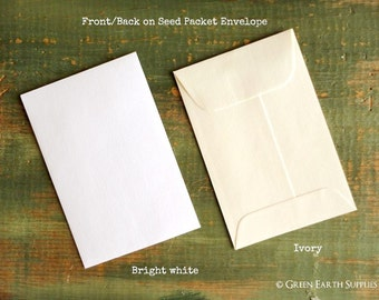 "SALE! 200 Standard Size Seed Packet Envelopes, Recycled White or Ivory, Seed Envelopes, Favor Envelopes, Recycled 3x4.5"" (76x114mm)"