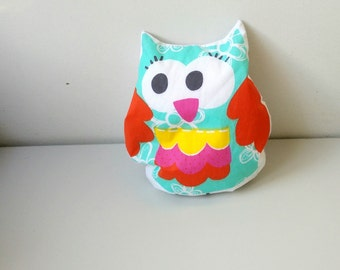 Plush/pillow Hand made little fun owl for kids Great friend colorful Filled with polystyrene pellets Anti allergic Ready to ship Cute gift