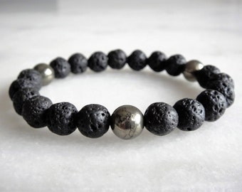 Mens bracelet with pyrite and lava stone beads / Mens jewelry lava bracelet for men lava stone bracelet men stone beaded bracelet mens gift