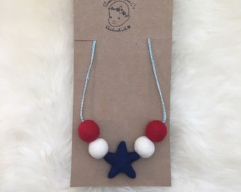 Yankee Doodle Wooley Ball Necklace