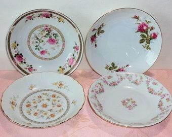 Vintage Rimmed Soup Salad Bowls Mismatched Floral Gold Pink Rose Moss Rose Asian Elegant Fancy