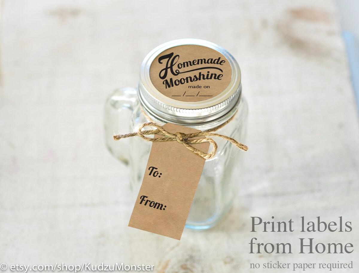 Moonshine Print at home labels and tags for homemade mason jar