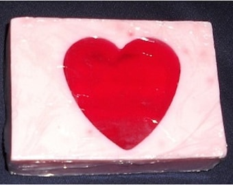Heart Soap Bar (Strawberries and Champagne) Goat's Milk & Glycerin (Romantic!)