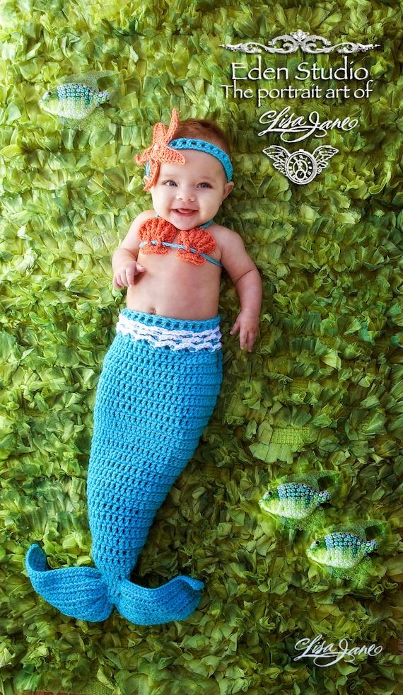 Crochet Mermaid Tail Photo Prop Set Newborn 3 Months
