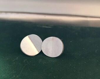 Vintage Silver Tone Round Modern Look Earrings