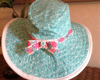 Teal and White Sunhat