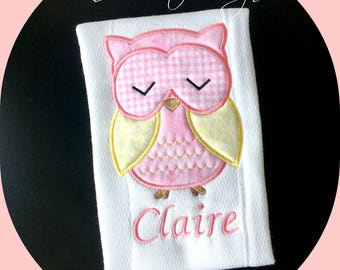 Owl Girl Burp Cloth/ Personalized Girl Burp Cloth/ Embroidered Burp Cloth/ Owl Baby Gift/ Unique Baby Gift/ Girl Embroidered Owl Burp Cloth