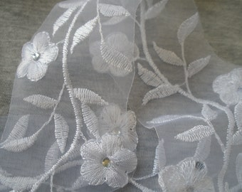 Floral Embroidered White Organza applique Lace tiny rhinestones Trim embellish wedding bridal flowers scallop edging