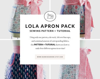 Retro Apron Sewing Pattern PDF - Half Apron - Lola Apron Pack of FOUR Womens Patterns - Instant Download Pattern + Tutorial by BambinoAmore