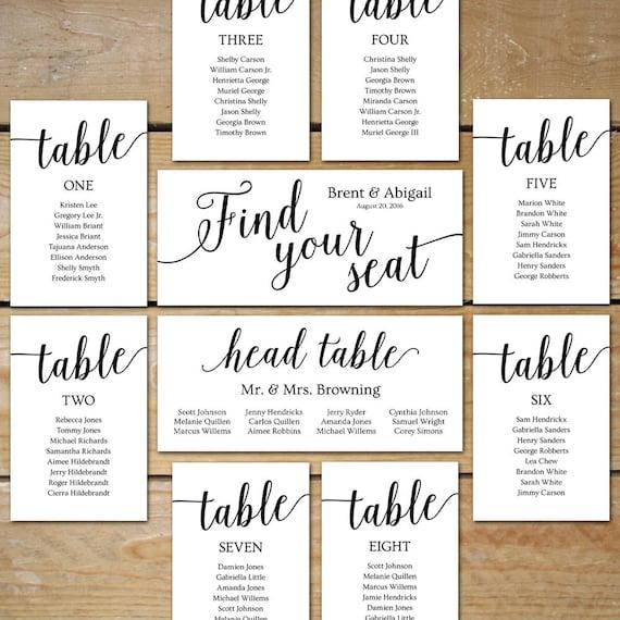 Printable seating chart wedding seating chart cards solutioingenieria Choice Image