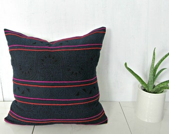 Thailand Hmong Pillow Cover / Indigo Hemp Orange Pink Embroidery Decorative Throw Cushion Organic Ethnic Textile Hand Spun Loom Boho Decor