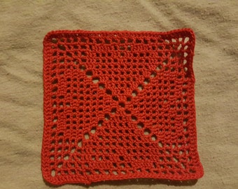 Red Crochet Hearts Filet Bookmark