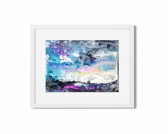 galaxy wall art, fluid art painting, pour painting, surreal art print, moonscape, abstract painting original, small art desk accessories for