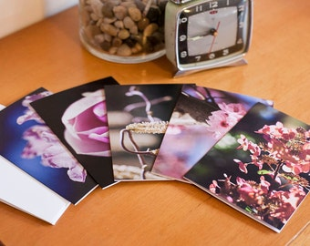 """Pack of 5 blank greeting cards - """"Bold Flowers"""" Photographic cards"""